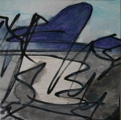 Skizze I, 2015, Mischtechnik auf Papier 9x9 cm