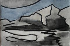Skizze IX, 2015, Mischtechnik auf Papier 10x15 cm
