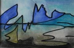 Skizze VII, 2015, Mischtechnik auf Papier 10x15 cm