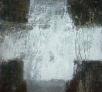 Kreuzform III, 2017, Mischtechnik auf Pappe, 30x30 cm
