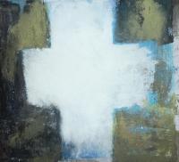 Kreuzform V, 2017, Mischtechnik auf Pappe, 30x30 cm