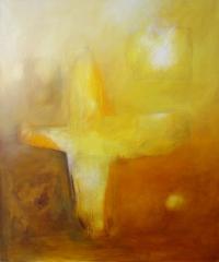 Kreuzform in Gelb, 2000, Mischtechnik auf Leinwand, 120x100