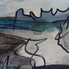 Skizze III, 2015, Mischtechnik auf Papier 9x9 cm