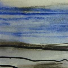 Skizze V, 2015, Mischtechnik auf Papier 9x9 cm