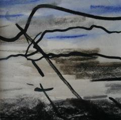 Skizze VI, 2015, Mischtechnik auf Papier 9x9 cm