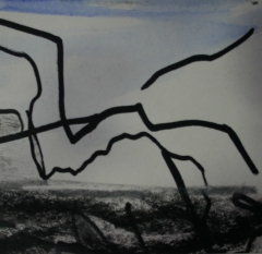 Skizze IV, 2015, Mischtechnik auf Papier 9x9 cm