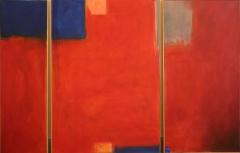 Komposition in orang mit blau, 2007, Acryl auf Leinwand 100x30x70x50 cm