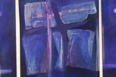 Triptychon in blau mit Kreuz 2002, Collage auf Leinwand, 100x 30x 100x 30 cm