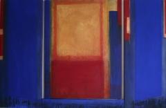 blau rot gold 2006, Pigmente, Acryl auf Leinwand und Holz 100x50 80 50